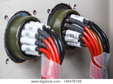 PLC's input wires used in industry parts in factory.