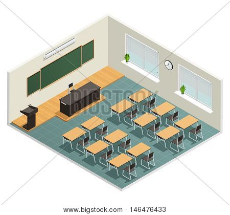 Lecture room with big chalk board desks massive black table for lecturer and tribune isometric poster vector illustration