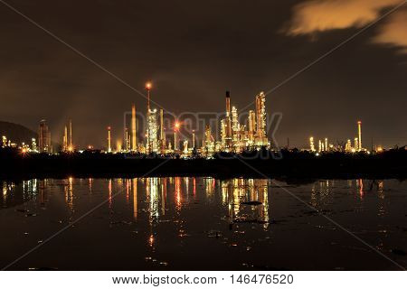 The Oil refinery plant at twilight dark blue sky.