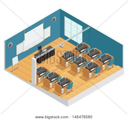 Interior poster of modern classroom with computers desks chalkboard and magnetic board projector and screen isometric vector illustration