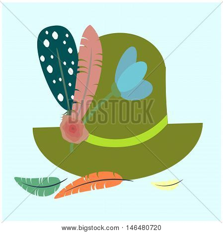 Octoberfest symbol . Colorful vector illustration. Tyrolean hat with feather and meadow flower. Traditional German Clothing.