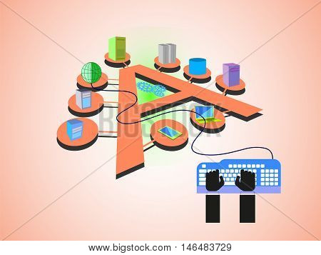 Concept of Enterprise Application Integration, various systems connected in alphabet letter A fashion