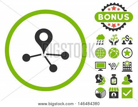 Geo Network icon with bonus. Vector illustration style is flat iconic bicolor symbols, eco green and gray colors, white background. poster