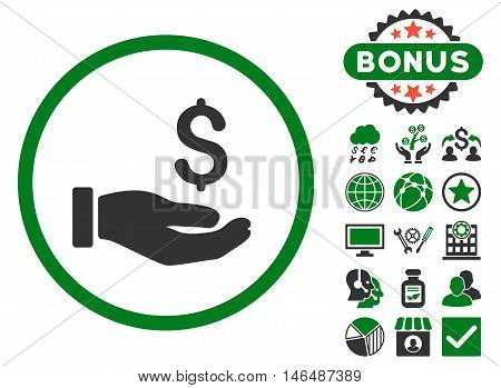 Earnings Hand icon with bonus. Vector illustration style is flat iconic bicolor symbols, green and gray colors, white background.