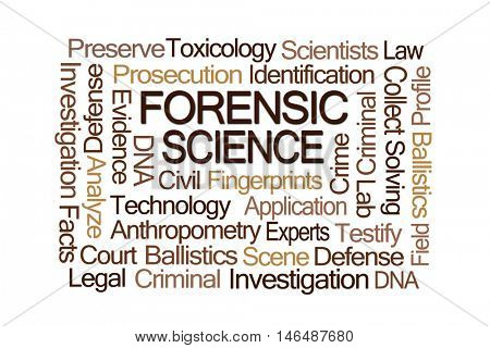 Forensic Science Word Cloud on White Background