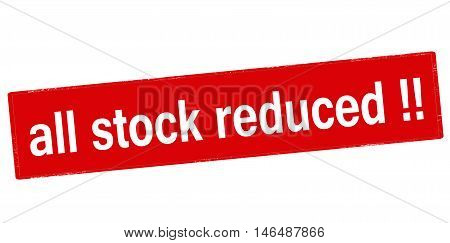 Rubber stamp with text all stock reduced inside vector illustration