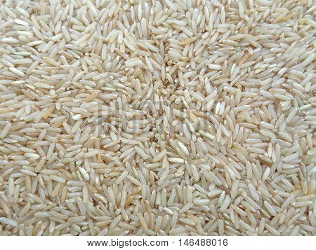 Uncooked Brown Jasmine Rice Close-up for Background, Texture, Raw Rice