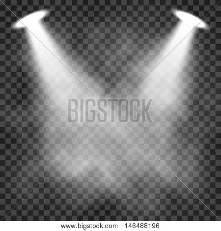 Scene illumination light effects on a transparent dark background, bright lighting with spotlights. Vector illustration
