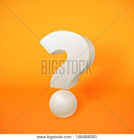White 3d question mark on orange background. Vector illustration