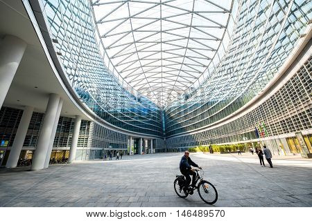 Milan, Italy - June 07, 2016: Futuristic architecture of the inner yard of Lombardia palace in Milan. Lombardia palace is a complex of buildings and is the main seat of the government of Lombardy