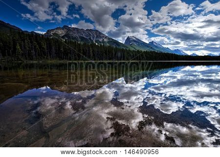 Mountains reflections in calm water. Honeymoon lake in Canadian Rockies. Jasper National Park. Alberta. Canada.