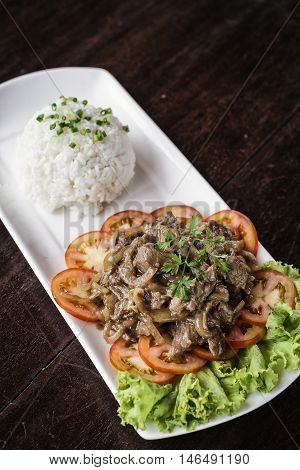 cambodian fried beef lok lak traditional khmer food