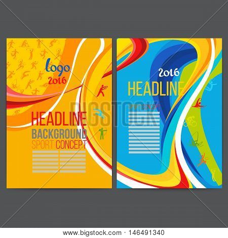 Vector template design strips of colored rings and waves collected from different colors.Concept sport brochure,Web sites,page,leaflet,logo. Sport banners with symbols of sports competitions.