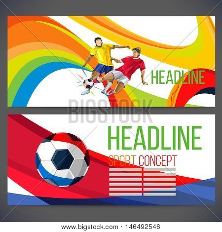 Concept of soccer player with colored geometric shapes assembled in figure football  Background of different color bands intertwined. champion football game. Isolate vector. Banner