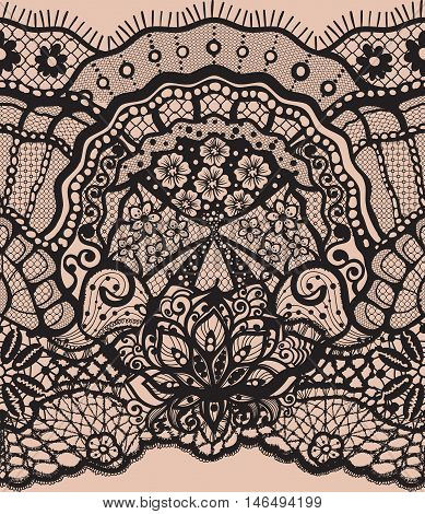 Vector Abstract seamless pattern with lace leaves and flowers pattern. Infinitely floral black ornamental wallpaper, lingerie and jewelry. Lace flower and Lace ornament. Isolate seamless lace.