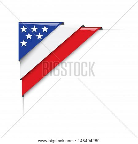 American corner. Vector abstract  label with flag