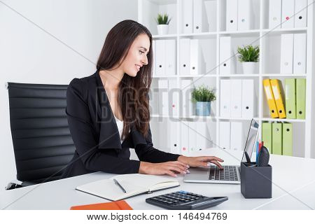 Business Lady In Black Is Checking Her Mail