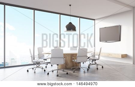 Conference Room With Round Table