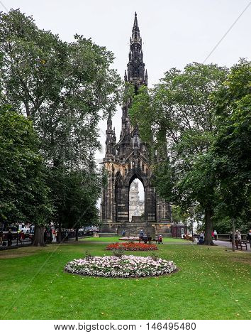 A Victorian Gothic monument to Scottish author Sir Walter Scott in Princes Street Edinburgh. The largest monument to a writer in the world.
