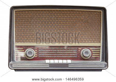 Old radio retro isolated on white background.