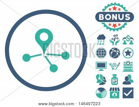 Geo Network icon with bonus. Vector illustration style is flat iconic bicolor symbols, cobalt and cyan colors, white background.