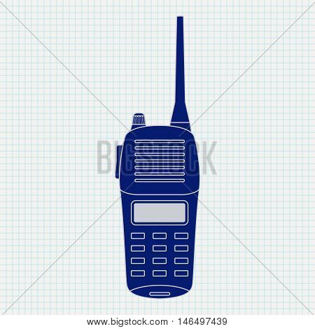 Radio transceiver. Blue vector icon on notebook sheet