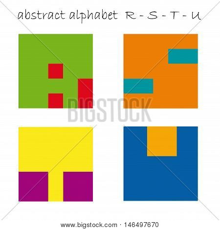 Vector color logo initial letter R, S, T, U