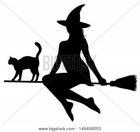 Black silhouette of young beautiful witch and cat flying on broomstick.
