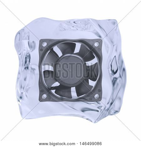 An irregularly shaped ice cube with fan is released on a white background.