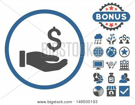 Earnings Hand icon with bonus. Vector illustration style is flat iconic bicolor symbols, cobalt and gray colors, white background.