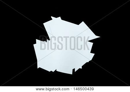 Clear paper cutting is isolated on black background
