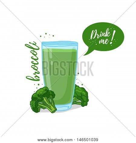 Design Template banner, poster, icons broccoli smoothies. Illustration of broccoli juice Drink me. Freshly squeezed vegetable broccoli juice for healthy life. Vector illustration