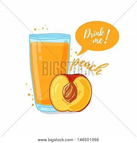 Design Template banner, poster, icons peach smoothies. Illustration of peach juice Drink me. Freshly squeezed tropical peach juice for healthy life. A glass of juice in doodle cute style.Vector