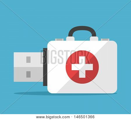 First aid kit flash drive on blue background. Backup computer and help concept. Flat design. Vector illustration. EPS 8 no transparency