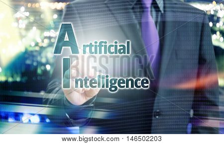 Businessman Pointing Artificial Intelligence text in a Blue Concept Image