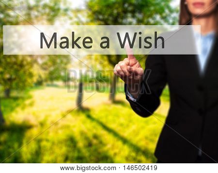 Make A Wish - Businesswoman Pressing Modern  Buttons On A Virtual Screen