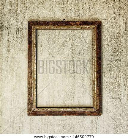 old wooden frame on grey grunge background. tinted image
