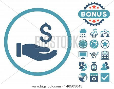 Earnings Hand icon with bonus. Vector illustration style is flat iconic bicolor symbols, cyan and blue colors, white background.