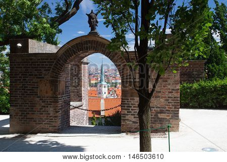 View from Garden of Paradice on Prague city. Paradise Garden laid out in the 16th century by the archduke Ferdinand.