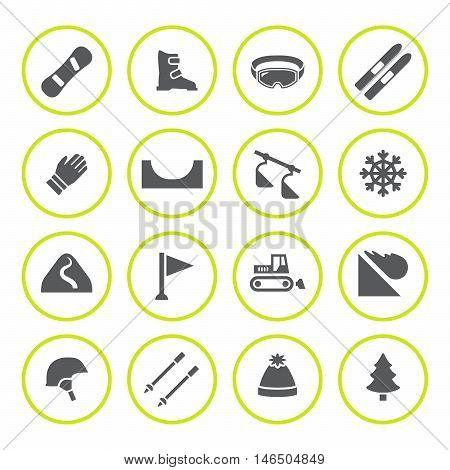 Set round icons of skiing and snowboarding isolated on white. Vector illustration
