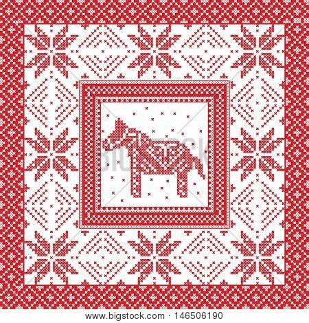 Scandinavian style and Nordic culture inspired Christmas and festive winter square pattern in cross stitch style with Swedish style Dala horse, snowflake, star and  decorative ornaments in red, white