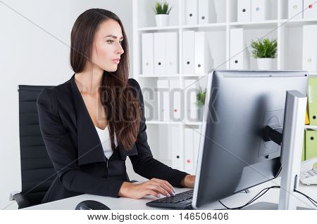 Centered Business Lady And Her Computer