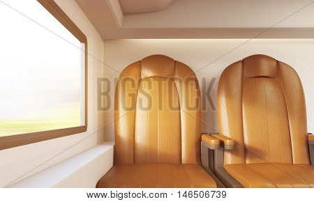 Two Brown Chairs In Airplane