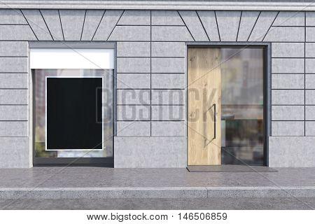 Shop window with black poster and glass and wooden door. Concept of advertisement copyspace. 3d rendering. Mock up