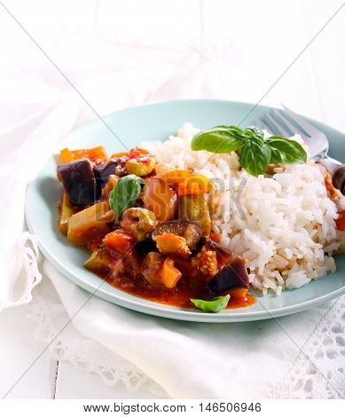 Vegetable ragout with rice aside served on plate