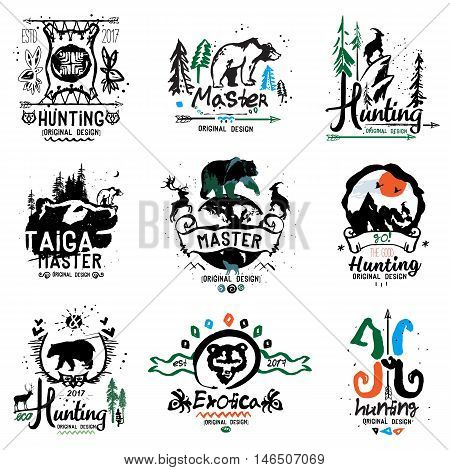 Hunting illustrations and logos. Retro design elements handmade, the theme of hunting and animal.