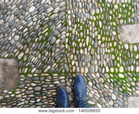 Keep Moving Forward !! Cobblestone Walkway in Cordoba, Spain