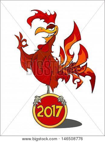 Hand drawn Red Fiery Rooster. The symbol of the Chinese New Year 2017 - stock vector