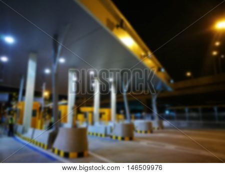 Blurred Highway Toll Payment Gate Without Cars At Night.