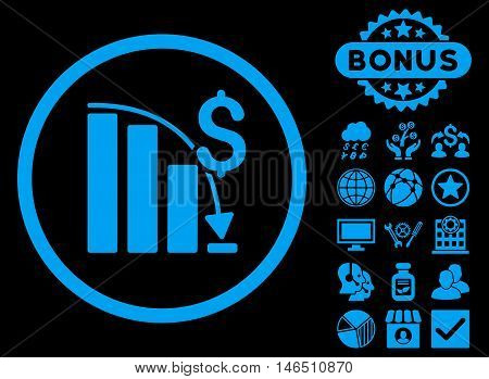 Epic Fail Chart icon with bonus. Vector illustration style is flat iconic symbols, blue color, black background. poster